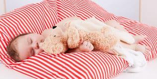 Sova behandla som ett barn gulliga små på rött, och vita band kudde Fotografering för Bildbyråer