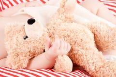 Sova behandla som ett barn gulliga små på rött, och vita band kudde Arkivfoto