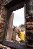 Sova Buddha och ramen från fönster Arkivbild