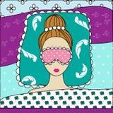 Sova den härliga kvinnaillustrationen stock illustrationer