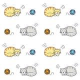 Sova den sömlösa modellen för strimmig kattkatter stock illustrationer
