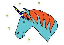Sova det blåa huvudet av enhörningen med stängda ögon som isoleras på vit bakgrund stock illustrationer