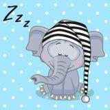 Sova elefanten royaltyfri illustrationer