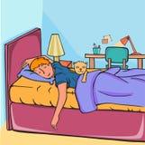 sova för pojke Arkivbilder