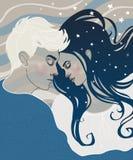Sova för pojke och för flicka för härliga par förälskat vektor illustrationer