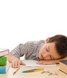 sova för schoolboy Arkivbilder