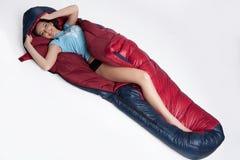 sova kvinna för påse Fotografering för Bildbyråer