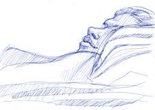 sova kvinnabarn skissa royaltyfri illustrationer