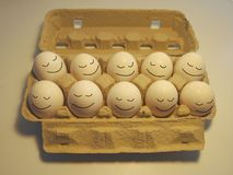 Sova lyckliga ägg Arkivbild