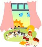 Sova med katter och dagavbrott. Royaltyfria Foton