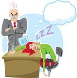 Sova på jobbet vektor illustrationer