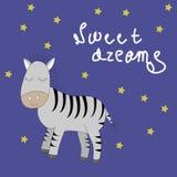 Sova sebran med uttryck för söta drömmar vektor illustrationer