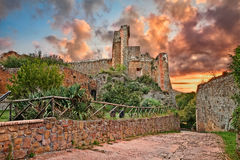 Sovana, Grosseto, Tuscany, Italy: the ancient fortress Rocca Ald Stock Images