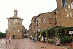 Central square of Sovana, a medieval village in Grosseto province, Tuscany, Italy. stock image