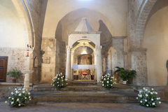 Sovana (Toscana), interiore della chiesa Fotografia Stock