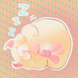 Sover den beigea hamstern för vektorn på bakgrunden av hjärtor stock illustrationer
