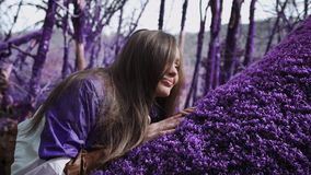 Sover den härliga flickan för den violetta sagaskogen i ett lila omslag på en mjuk purpurfärgad mossa i mitt av lager videofilmer