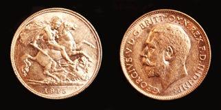 sovereign мяты melbourne золота 1915 австралийцев половинный Стоковое фото RF