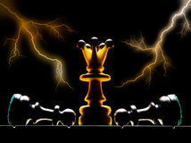 The sovereign. Chessmen on a chess board. A dark background and art illumination Royalty Free Stock Photography