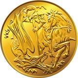 Sovereign britannico della moneta di oro dei soldi di vettore illustrazione di stock