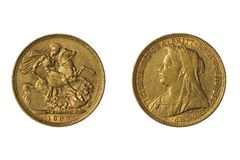 Gold sovereign coin of Great Britain, 1893 royalty free stock images