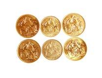 Sovereign do ouro no fundo branco isolado imagens de stock