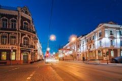 Sovetskaya ulica przy nocą z pocztowym buduje Gomel, Belar Obraz Royalty Free