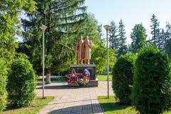 Sovhoz Borovskiy,俄罗斯- 2018年8月:巨大爱国战争的纪念品1941-1945 图库摄影