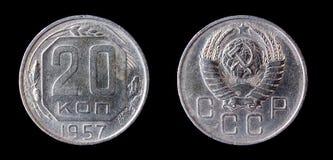 Soviel coin of 20 kopeck. Soviet coin of 20 kopeck. 1957 Royalty Free Stock Photos