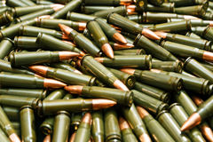 Soviet ammo. Pile of green russian ammunition Royalty Free Stock Image