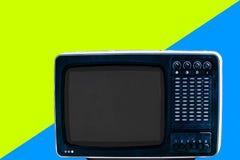 Soviet analog retro TV on modern background royalty free stock image