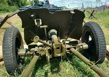 Soviet anti-tank 45-millimeter gun of the Second World War. Soviet anti-tank 45-millimeter gun of the Second World War at an exhibition near Voronezh stock photography
