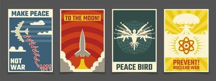 Soviet anti war, peaceful propaganda vector vintage posters. Illustration of peace bird, rocket to moon vector illustration