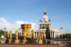 Soviet architecture. Typical for military dictatorship countries - golden statues and palace Royalty Free Stock Photo