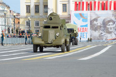 Soviet armored car BA-20 on the dress rehearsal of the solemn parade in honor of the Victory Day Stock Images