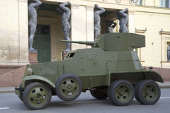 Soviet armored car 30-ies BA-3 on the background of the New Hermitage, St. Petersburg Royalty Free Stock Image