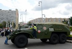 Soviet armored personnel carrier BTR-152 at the exhibition of military equipment stock photo