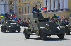 Soviet armored vehicles during the great Patriotic war on the parade in honor of Victory day. Saint Petersburg Stock Images