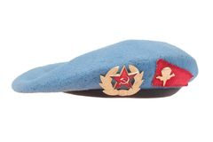 Soviet army airborne forces blue beret isolated. On white background royalty free stock photography