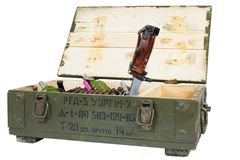 Soviet army ammunition box with bayonet. Text in russian - type of ammunition (RGD 5 UZRGM - hand grenade), lot number and. Soviet army ammunition box with royalty free stock images