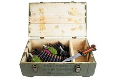 Soviet army ammunition box with bayonet. Text in russian - type of ammunition (RGD 5 UZRGM - hand grenade), lot number and. Soviet army ammunition box with royalty free stock image