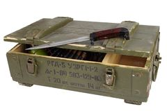 Soviet army ammunition box with bayonet. Text in russian - type of ammunition (RGD 5 UZRGM - hand grenade), lot number and. Soviet army ammunition box with stock photos