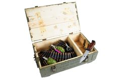 Soviet army ammunition box with bayonet. Text in russian - type of ammunition (RGD 5 UZRGM - hand grenade), lot number and. Soviet army ammunition box with stock photography