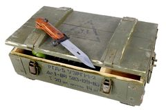Soviet army ammunition box with bayonet. Text in russian - type of ammunition (RGD 5 UZRGM - hand grenade), lot number and. Soviet army ammunition box with stock images