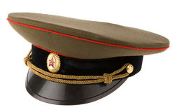 Soviet army cap. Isolated on white Royalty Free Stock Photo