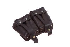 Soviet army leather ammo pouch - bag for ammo Royalty Free Stock Images