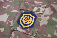 Soviet Army Mechanized infantry shoulder patch on camouflage uniform. Background Stock Image