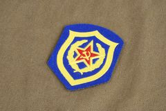 Soviet Army Mechanized infantry shoulder patch on khaki uniform Stock Photography