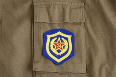 Soviet Army Mechanized infantry shoulder patch on khaki uniform Stock Photo