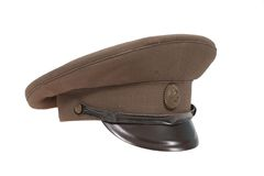 Soviet army officer's field cap isolated on white background Stock Photos